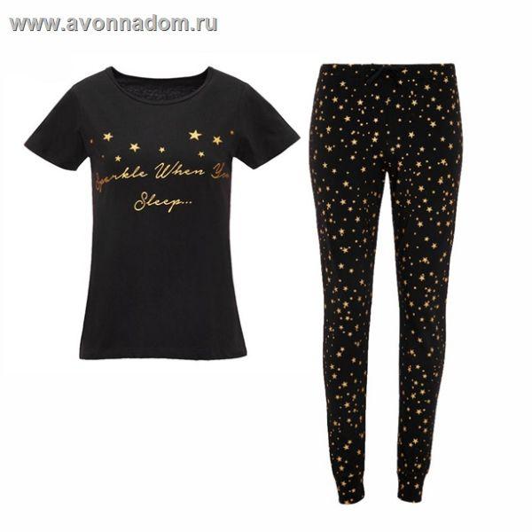 d9a77939252c Купить - Эйвон Женская пижама с золотистыми звездочками - Цены, Фото